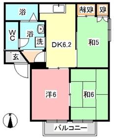 ディアス雅2階Fの間取り画像