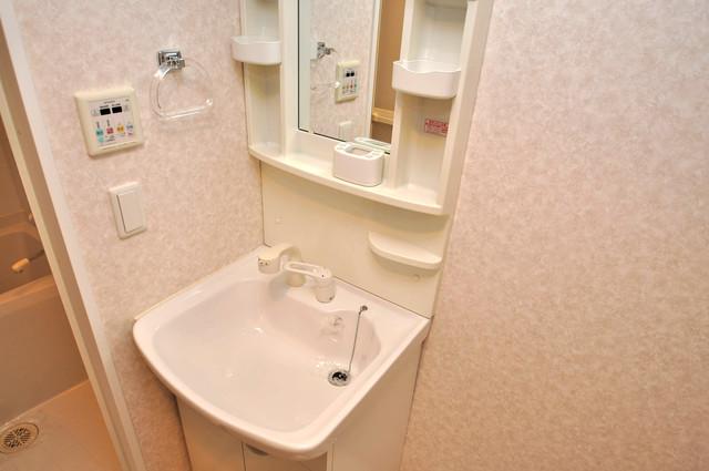 CASSIA高井田NorthCourt 独立した洗面所には洗濯機置場もあり、脱衣場も広めです。
