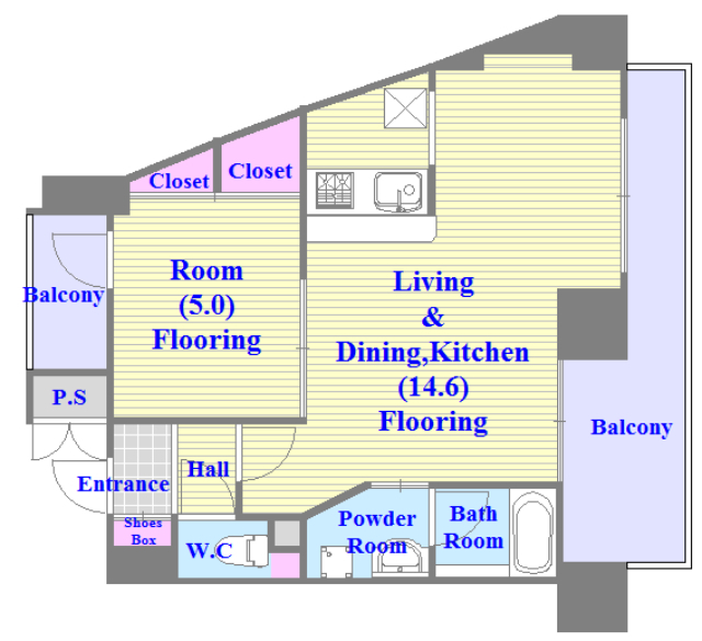 TSカーサテルッツオ 人気の全室フローリング。収納スペースも充実しています。