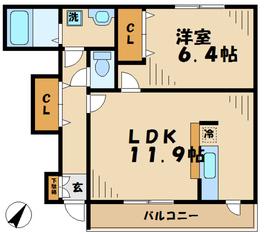 町田駅 バス8分「第三小学校前」徒歩5分1階Fの間取り画像
