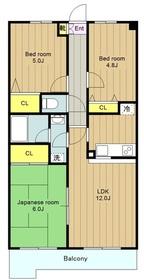 鶴間駅 徒歩10分4階Fの間取り画像