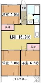 師岡マンション3階Fの間取り画像
