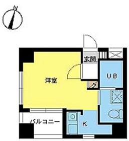 スカイコート新宿曙橋10階Fの間取り画像