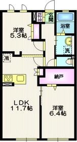 マイカーサ北鎌倉1階Fの間取り画像