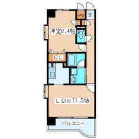 カーレヂ三浦・Ⅱ9階Fの間取り画像