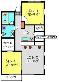 アビタシオンM堀ノ内H棟2階Fの間取り画像