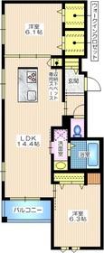 小倉5丁目メゾン3階Fの間取り画像