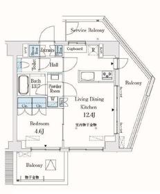 市谷仲之町ビューアパートメント11階Fの間取り画像