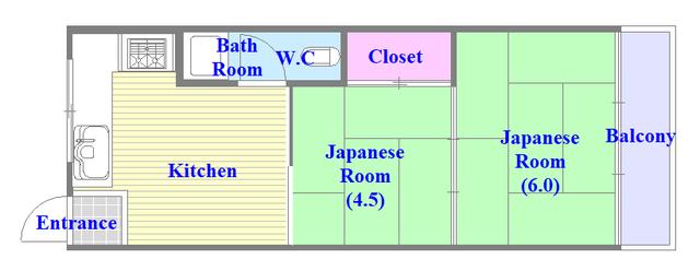 八戸ノ里KS 和室のある間取です。ゆったりおくつろぎください。