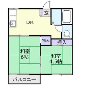 木野ハイツ A棟1階Fの間取り画像