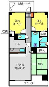 ライオンズマンション横浜蒔田6階Fの間取り画像