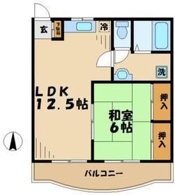 グレースマンションタジリ2階Fの間取り画像