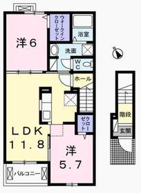 河辺駅 バス13分「万場坂」徒歩3分2階Fの間取り画像