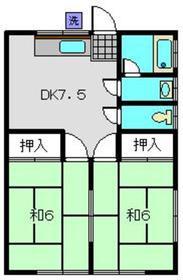 豊ハイツ2階Fの間取り画像