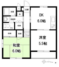 矢来ハイツA館2階Fの間取り画像