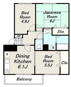 タナリーマンション3階Fの間取り画像