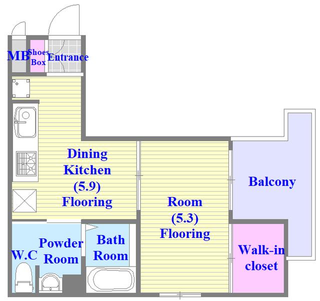 ペースネージュ足代北 セパレートで広めのお部屋です。