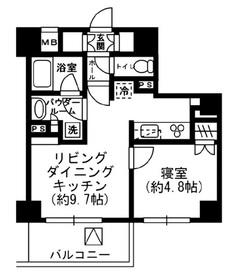 レジディア四谷三丁目5階Fの間取り画像