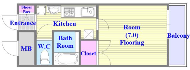 ジオ・グランデ高井田 バス・トイレが別のセパレートで単身さん向けのお部屋です。