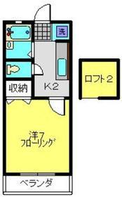 メゾンドロカイユ2階Fの間取り画像