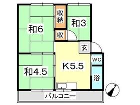 新倉敷マンション A4階Fの間取り画像