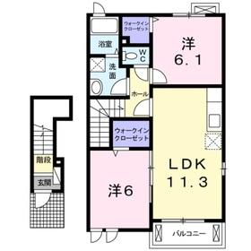 エレガンテブリッサ2階Fの間取り画像