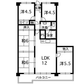 サンアメニティ壱番館5階Fの間取り画像
