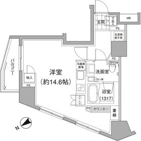 麻布十番駅 徒歩12分13階Fの間取り画像
