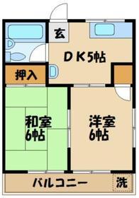 坂下マンション2階Fの間取り画像