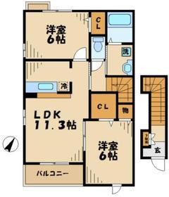 ジュイールⅡ2階Fの間取り画像