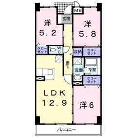 綱島駅 バス15分「鷹野大橋」徒歩3分2階Fの間取り画像