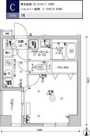スカイコート清澄庭園2階Fの間取り画像