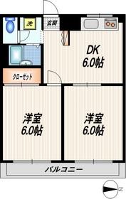 芳垣ハイツ4階Fの間取り画像