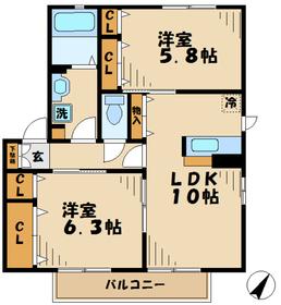 香川駅 徒歩17分2階Fの間取り画像