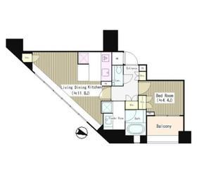 パークリュクス西麻布9階Fの間取り画像