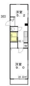 コーポオーロラ3階Fの間取り画像