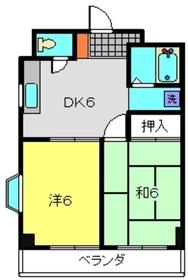 クリエールヤマニ2階Fの間取り画像