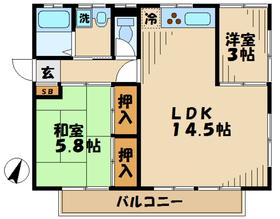 ノゾミハイツ2階Fの間取り画像