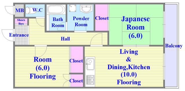 ローズガーデンCOMO 各部屋がゆったりとした、ファミリータイプの間取り。