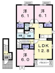 ソレアードミキB2階Fの間取り画像