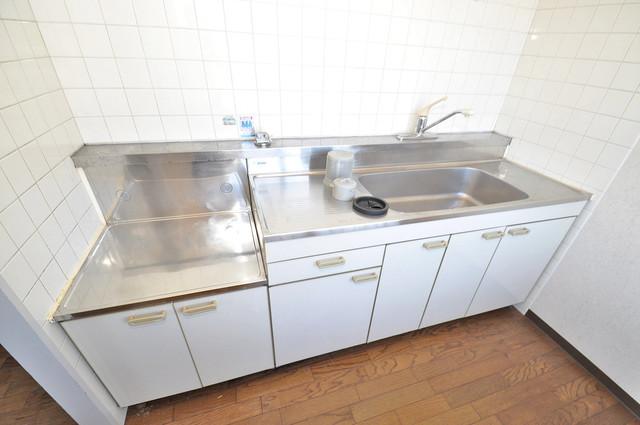プラムガーデンハイツ シンプルなキッチンです。あなた好みのコンロを置いてくださいね。