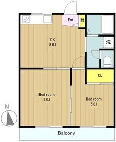 大野台郵便局マンション2階Fの間取り画像