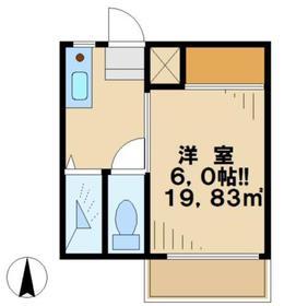 コーポ桜ヶ丘1階Fの間取り画像