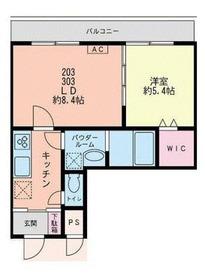 新丸子駅 徒歩5分2階Fの間取り画像