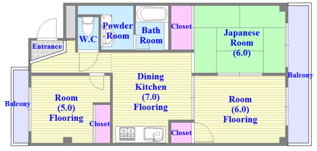 TSUJIHANAビルディング 各部屋がゆったりとした、ファミリータイプの間取り。
