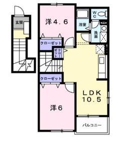 メゾンサンパティーク2階Fの間取り画像