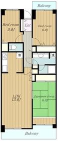 コスモ相模原スカイエッセ5階Fの間取り画像