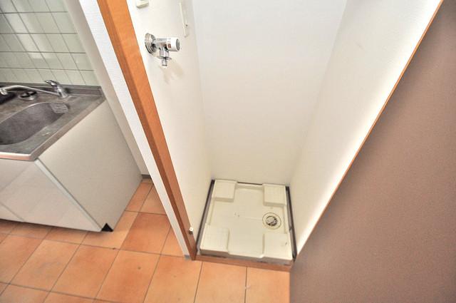 ディナスティ東大阪センターフィールド 洗濯機置場が室内にあると本当に助かりますよね。