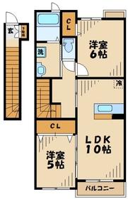 本厚木駅 バス12分「荻野新宿」徒歩6分2階Fの間取り画像