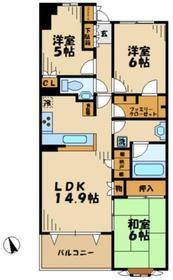 サンクタス五月台2階Fの間取り画像